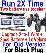 XinleHong Toys 9120 Parts-Upgrade 2-to-1 wire and Velcro & 2pcs Battery-Two battery can use together,Run 2x Time than usual,JYRC XinleHong Toys 9120 Racing Sprint RC Monster Truck Spare parts Accessories,9120 1:12 4WD Brush High Speed Buggy Parts