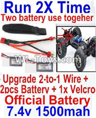 Hosim 9125 Parts-Upgrade 2-to-1 wire and Velcro & 2pcs Battery-Two battery can Be used together,Run 2x Time than usual Parts-,1/12 Hosim 9125 RC Car Parts