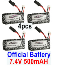 Hosim 9130 Parts-Battery,Akku-Official 7.4V 500mah Battery(4pcs) Parts,Hosim 9130 RC Car Parts