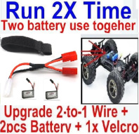 Hosim 9130 Parts-Upgrade 2-to-1 wire and Velcro & 2pcs 500mah Battery-Two battery can use together,Run 2x Time than usual Parts-,Hosim 9130 RC Car Parts