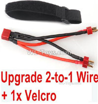 XinLeHong Toys Q902 Parts-Upgrade 2-to-1 wire and Velcro-Two battery can use together,Run 2x Time than usual,XinLeHong Toys Q902 RC Car Parts
