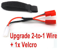 XinLeHong Toys 9145 Parts-Upgrade 2-to-1 wire and Velcro-Two battery can use together,Run 2x Time than usual,XinLeHong Toys 9145 RC Car Parts,XinLeHong Toys 1/20 Parts