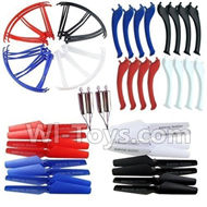 SYMA X5S X5SW X5SC Parts-58 Landidng skid(16pcs)& Outer protect frame(16pcs) & Propellers(16pcs) & Main motor(4pcs)-(Red,Blue,White,Black color) For SYMA X5S X5SC X5SC Quadcopter UFO parts