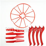 SYMA X5S X5SW X5SC Parts-60 Outer protect frame(4pcs) & Propellers(4pcs) & Landidng skid(4pcs)-Red For SYMA X5S X5SC X5SC Quadcopter UFO parts