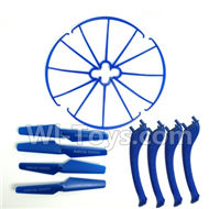 SYMA X5S X5SW X5SC Parts-62 Outer protect frame(4pcs) & Propellers(4pcs) & Landidng skid(4pcs)-Blue For SYMA X5S X5SC X5SC Quadcopter UFO parts