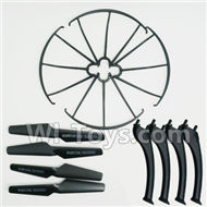 SYMA X5S X5SW X5SC Parts-63 Outer protect frame(4pcs) & Propellers(4pcs) & Landidng skid(4pcs)-Black For SYMA X5S X5SC X5SC Quadcopter UFO parts