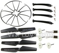 SYMA X5S X5SW X5SC Parts-64 Outer protect frame(4pcs) & Propellers(4pcs) & Landidng skid(4pcs) & Main gear-Black For SYMA X5S X5SC X5SC Quadcopter UFO parts