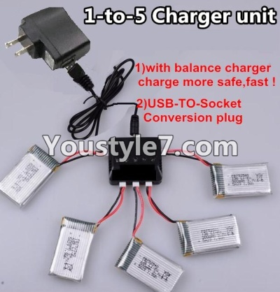 SongYang toys X22 Parts-26 Upgrade 1-to-5 charger and balance charger & USB-TO-socket Conversion plug(Not include the 5 battery) For the SY X22 UFO X-22 RC Quadcopter