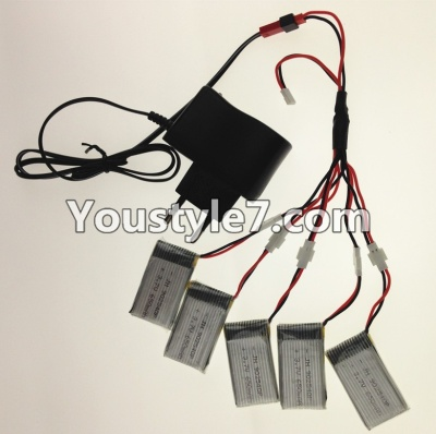 SongYang toys X22 Parts-28 USB Charger wire & Upgrade 1-to-5 Conversion wire & USB-to-Socket Conversion plug((Not include the 5 battery) For the SY X22 UFO X-22 RC Quadcopter