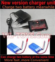 SongYang toys X6 Parts-23 Upgrade New version charger and balance charger-Can charge two battery at the same time & 2pcs Upgrade 1000mah Battery