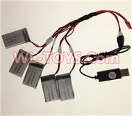 SongYang toys X7 Parts-24 USB Charger wire & Upgrade 1-to-5 Conversion wire((Not include the 5 battery)