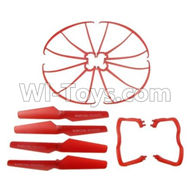 SYMA X5C Parts-58 Outer protect frame & Tripod(2pcs) & Propellers(4pcs)-All Red color For SYMA X5C Quadcopter parts,X5C UFO Parts