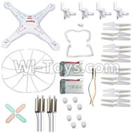 61-Whole parts unit(Fuselage,Propellers(16pcs),Light wire(2pcs),Main motor(4pcs),Outer protect frame(4pcs),battery(2pcs),motor gear(8pcs),Light cover(4pcs),Tripod(2pcs))& Motor seat unit(4pcs) For SYMA X5 X5C Quadcopter parts,SYMA X5 X5C Parts