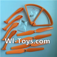 SYMA X8 X8C Parts-55 Landing skid(4pcs) & Protect frame(4pcs) & Propellers(4pcs)-Orange For SYMA X8 X8C RC Quadcopter parts,FPV Camera UFO