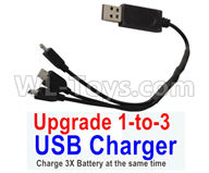 Visuo XS809HW XS809W Parts-Upgrade 1-to-3 USB Charger(Charge 3 Battery at the same time )
