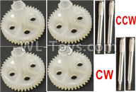 Wltoys Q373 Q373-B-E-C Parts-11-03 Main gear(4pcs),Iron shaft-4pcs-(2X CW and 2X CCW Thread),Wltoys Q373 Q373-B Q383-E Q383-C RC Hexacopter Quadcopter Drone Spare Parts Accessories,Wltoys Model Q373 Replacement Accessories