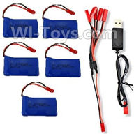 XK X250 Parts-25 3.7V 780mAh LiPo Battery(5pcs) & 1-TO-5 Conversion wire & USB Charger For Wltoys XK X250 Quadcopter Spare parts,X250 RC Drone parts