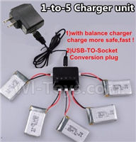 XK K110 Parts-33 Upgrade 1-to-5 charger and balance charger & USB-TO-socket Conversion plug(Not include the 5 battery) For Wltoys XK X110 Helicopter parts,6ch Brushless Helicopter spare parts