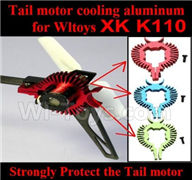 XK K110 Parts-61 Upgrade cooling aluminum for the tail motor(3 color you can choose) For Wltoys XK X110 Helicopter parts,6ch Brushless Helicopter spare parts