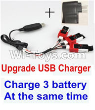 XK K120 Parts-39 Upgrade USB charger unit,Can charge 3 battery at the same time & USB-To-Socket conversion plug(Not include the 3x battery) For Wltoys XK X120 Helicopter parts,6ch Brushless Helicopter spare parts