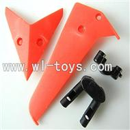 LS-222 LS222 helicopter parts-11 Horizontal wing & Vertical wing & Horizontal fixture & Vertical fixture-(Red)