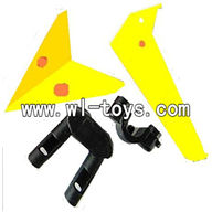 LS-222 ls222 helicopter parts-16 Horizontal wing & Vertical wing & 2pcs fixtures-(Yellow)