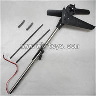MJX-F649-parts Whole tail unit(Long tail pipe & Horizontal and verticall wing with fixture & Tail cover with tail motor and tail gear & Tail blade & Support pipe with fixtures) MJX F49 F649 rc helicopter