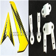 S39-parts-11 Horizontal and verticall wing with fixtures-Yellow SYMA S39 RC helicopter Spare Parts Syma TOYS model