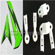 S39-parts-12 Horizontal and verticall wing with fixtures-Green SYMA S39 RC helicopter Spare Parts Syma TOYS model