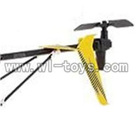 S39-parts-26 Whole tail unit-Yellow (Long tail pipe with horizontal and vertiall wing & Tail cover with tail motor and tail blade SYMA S39 RC helicopter Spare Parts Syma TOYS model