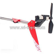 SYMA-F4-parts-27 Whole tail unit-Red(Long tail pipe & Horizontal and verticall wing with fixtures & Tail cover with tail motor and tail blade) SYMA F4 rc helicopter Spare parts SYMA TOYS model