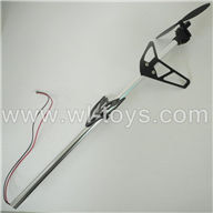 BR6098T-parts-31 Whole tail unit-(Long tail pipe & Horizontal and verticall wing with fixtures & Tail cover with tail motor and tail blade) BORONG BR6098T RC Helicopter Parts