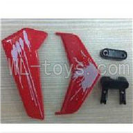 UDI U822 rc helicopter parts-11 Horizontal and verticall wing with fixtures-Red