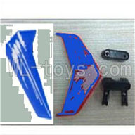 UDI U822 rc helicopter parts-12 Horizontal and verticall wing with fixtures-Blue