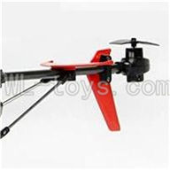 UDI U822 rc helicopter parts-29 Whole tail unit-(Long tail pipe & Horizontal and verticall wing with fixtures & Tail cover with tail motor and tail gear & Support pipe)-Red