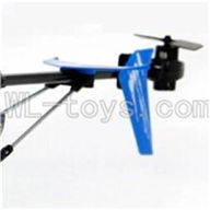 UDI U822 rc helicopter parts-30 Whole tail unit-(Long tail pipe & Horizontal and verticall wing with fixtures & Tail cover with tail motor and tail gear & Support pipe)-Blue