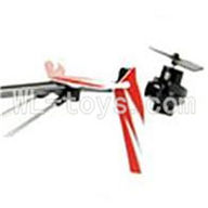 UDI U823 RC helicopter parts-29 Whole tail unit-(Long tail pipe & Horizontal and verticall wing with fixtures & Tail cover with tail motor and tail gear & Support pipe)-Red
