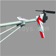 UDI U17 rc helicopter parts-34 Whole tail unit-(Long tail pipe & Horizontal and verticall wing with fixtures & Tail cover with tail gear and tail motor,tail blade & Support pipe)-Red