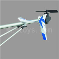 UDI U17 rc helicopter parts-35 Whole tail unit-(Long tail pipe & Horizontal and verticall wing with fixtures & Tail cover with tail gear and tail motor,tail blade & Support pipe)-Blue
