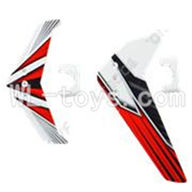 UDI U23 rc helicopter parts-26 Horizontal and verticall wing with fixtures-Red