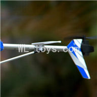 UDI U25 rc helicopter parts-38 Whole tail unit-(Long tail pipe & Horizontal and verticall wing with fixtures & Tail cover with tail gear and tail motor,tail blade & Support pipe)-Blue