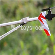 UDI U25 helicopter parts-39 Whole tail unit-(Long tail pipe & Horizontal and verticall wing with fixtures & Tail cover with tail gear and tail motor,tail blade & Support pipe)-Red
