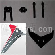 UDI U820 rc helicopter parts-21 Horizontal and verticall wing with fixtures-Red