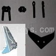 UDI U820 rc helicopter parts-22 Horizontal and verticall wing with fixtures-Blue