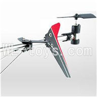 UDI U820 rc helicopter parts-31 Whole tail unit-(Long tail pipe & Horizontal and verticall wing with fixtures & Tail cover with tail gear and tail motor,tail blade & Support pipe)-Red