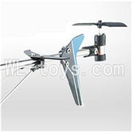 UDI U820 rc helicopter parts-32 Whole tail unit-(Long tail pipe & Horizontal and verticall wing with fixtures & Tail cover with tail gear and tail motor,tail blade & Support pipe)-Blue