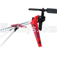 Koome model K012 RC helicopter parts ,Koome K-012 parts--21 Whole tail unit(Red)-(Long tail pipe & Horizontal and verticall wing with fixture & Tail cover with tail motor and Tail blade & Suuport pipe)