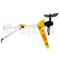 Koome model K012 RC helicopter parts ,Koome K-012 parts-23 Whole tail unit(Yellow)-(Long tail pipe & Horizontal and verticall wing with fixture & Tail cover with tail motor and Tail blade & Suuport pipe)