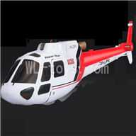 WLtoys V931 RC helicopter WL toys V931 AS350 parts-02 Front head cover & Back body cover-Red