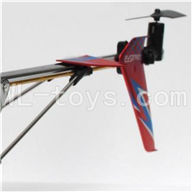 DFD F162 RC helicopter Parts-31 Whole tail unit-Red(Long tail pipe with horizontal and verticall wing & Tail cover with tail motor and tail blade & Support pipe)